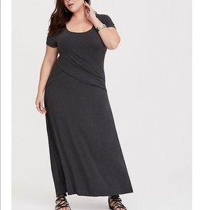 Grey Pleated Jersey Maxi Dress NWOT